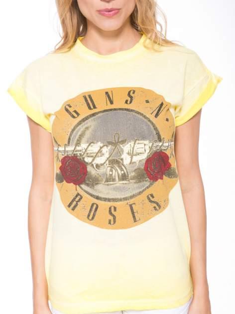 Żółty t-shirt z nadrukiem GUNS N' ROSES                                  zdj.                                  6