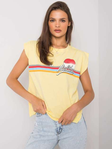Żółty t-shirt z nadrukiem Malibu