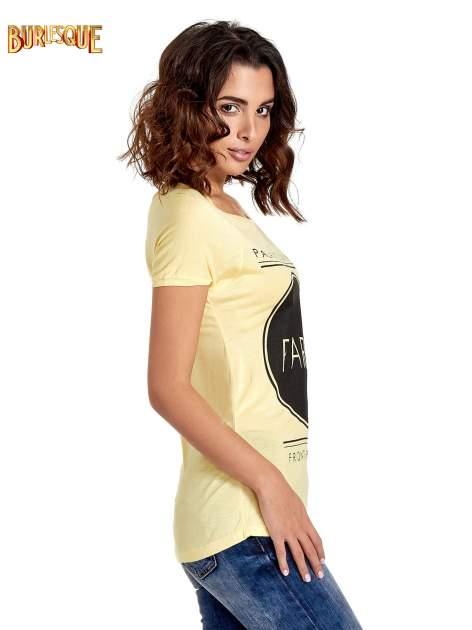 Żółty t-shirt z nadrukiem PARIS                                  zdj.                                  3