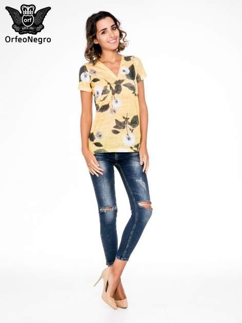 Żółty t-shirt z nadrukiem all over floral print                                  zdj.                                  2