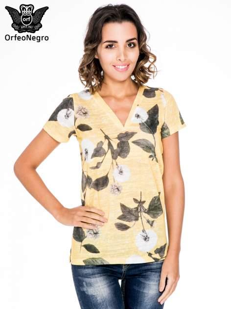 Żółty t-shirt z nadrukiem all over floral print                                  zdj.                                  1