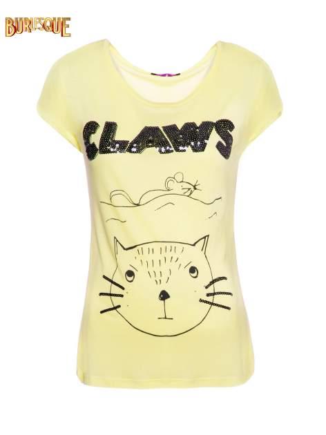 Żółty t-shirt z nadrukiem kota i myszy
