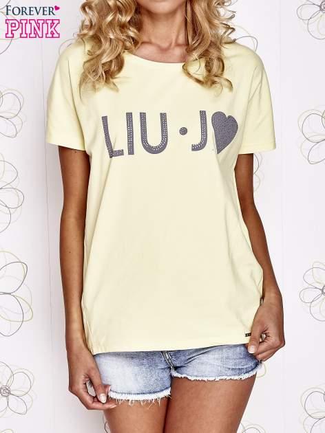 Żółty t-shirt z napisem LIU J❤                                  zdj.                                  1