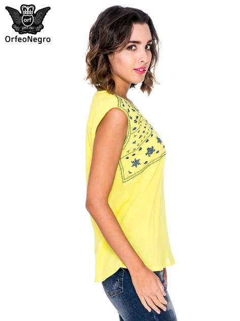Żółty top z haftem w etnicznym stylu                                  zdj.                                  3