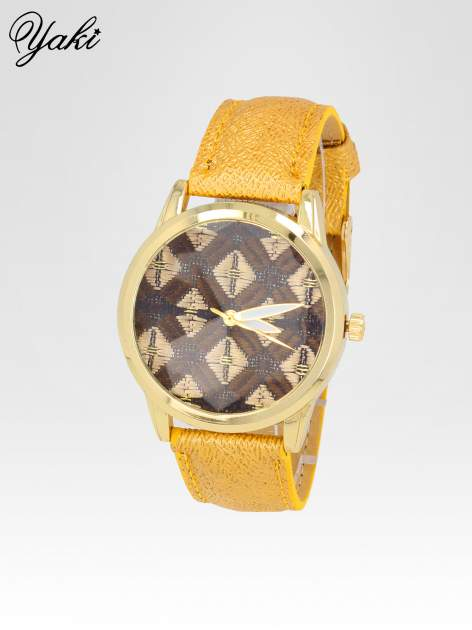 Żółty zegarek damski ze złotą kopertą i etno tarczą                                  zdj.                                  2