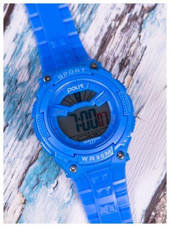 sportowy niebieski zegarek z tarczą poświetlaną na 2 kolory,WR30,alarm. Wygodny silikonowy pasek.                                  zdj.                                  2