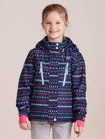 4F Granatowa wzorzysta kurtka narciarska dla dziewczynki                                  zdj.                                  1