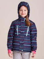 4F Granatowa wzorzysta kurtka narciarska dla dziewczynki                                  zdj.                                  3