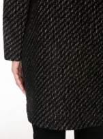 Antracytowy wełniany długi żakiet o pudełkowym kroju ze skórzaną lamówką                                                                          zdj.                                                                         9