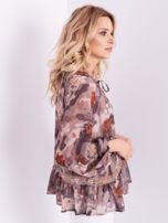BY O LA LA Beżowa bluzka mgiełka ze wzorem i koronką                                  zdj.                                  5