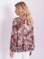 BY O LA LA Beżowa bluzka mgiełka ze wzorem i koronką                                  zdj.                                  4