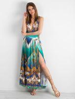 BY O LA LA Zielono-niebieska sukienka we wzory                                  zdj.                                  1