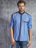 Bawełniana gładka koszula męska z kieszenią niebieska PLUS SIZE                                  zdj.                                  6