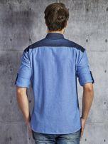 Bawełniana gładka koszula męska z kieszenią niebieska PLUS SIZE                                  zdj.                                  2
