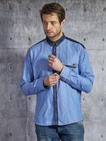 Bawełniana gładka koszula męska z kieszenią niebieska PLUS SIZE                                  zdj.                                  1