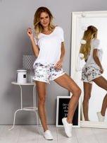 Bawełniane szorty z nadrukiem floral białe                                  zdj.                                  4