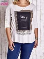 Beżowa bluzka z napisem BEAUTY PLUS SIZE                                  zdj.                                  1