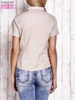 Beżowa koszula z krótkim rękawem                                  zdj.                                  4