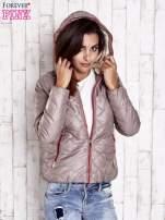 Beżowa pikowana kurtka z futrzanym ociepleniem                                   zdj.                                  4