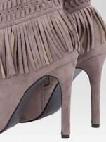 Beżowe botki faux suede Suzie open toe z frędzlami w stylu boho                                  zdj.                                  7