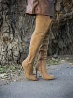 Beżowe zamszowe kozaki na szpilkach za kolano                                  zdj.                                  3