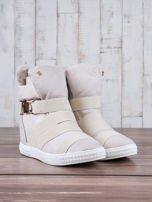 Beżowe zamszowe sneakersy bandage z klamerką Lucky                                  zdj.                                  3