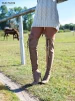 Beżowe zamszowe wiązane kozaki za kolano                                                                          zdj.                                                                         1