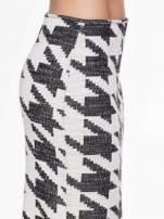 Beżowo-czarna ołówkowa spódnica tuba w pepitkę                                  zdj.                                  6