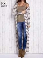 Beżowy długi sweter w paski                                  zdj.                                  1