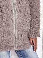 Beżowy futrzany sweter kurtka na suwak                                  zdj.                                  7