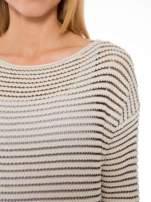Beżowy półtransparentny sweter w prążki                                  zdj.                                  5