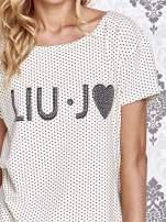 Beżowy t-shirt w drobne groszki z napisem LIU J❤                                  zdj.                                  5