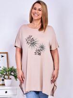 Beżowy t-shirt  z roślinnym printem PLUS SIZE                                  zdj.                                  1