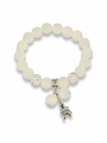 Biała Bransoletka koralikowa z zawieszką w kształcie wieży eiffla                                                                          zdj.                                                                         1