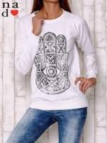 Biała bluza z motywem dłoni                                  zdj.                                  2