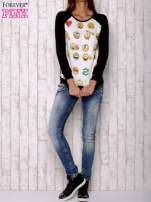 Biała bluza z nadrukiem emotikonów