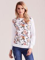 Biała bluza z nadrukiem w kwiaty                                  zdj.                                  1
