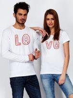 Biała bluzka męska z połówką napisu LOVE dla par                                  zdj.                                  3