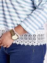 Biała bluzka w paski z koronką PLUS SIZE                                                                          zdj.                                                                         6