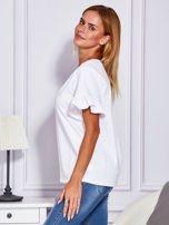 Biała bluzka z falbanami na rękawach                                  zdj.                                  5