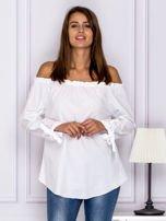 Biała bluzka z wiązaniami na rękawach                                  zdj.                                  1