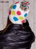 Biała czapka w kolorowe grochy z pomponem FUNK N SOUL                                  zdj.                                  3