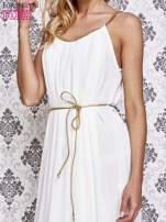 Biała grecka sukienka ze złotym paskiem                                  zdj.                                  5