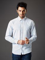 Biała koszula męska o klasycznym kroju we wzory                                  zdj.                                  1