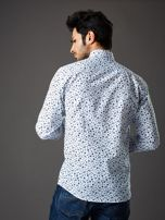 Biała koszula męska regular fit w roślinny wzór                                  zdj.                                  2