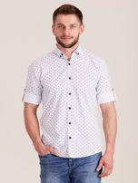 Biała koszula męska w drobne wzory                                  zdj.                                  1