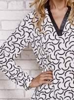 Biała koszula w geometryczne wzory                                  zdj.                                  5