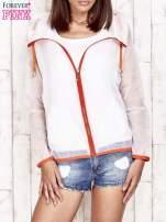 Biała kurtka wiatrówka z pomarańczowym suwakiem                                  zdj.                                  4