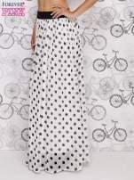 Biała spódnica maxi w czarne grochy