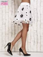 Biała spódnica mini w kwiaty                                                                          zdj.                                                                         3